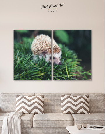 Hedgehog on Green Forest Canvas Wall Art - image 10
