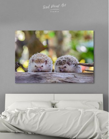 Couple of Two Hedgehogs on Tree Canvas Wall Art