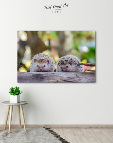 Couple of Two Hedgehogs on Tree Canvas Wall Art - image 6