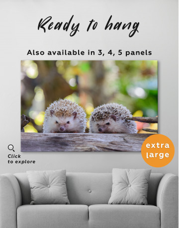 Couple of Two Hedgehogs on Tree Canvas Wall Art - image 3