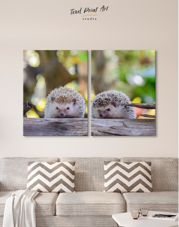 Couple of Two Hedgehogs on Tree Canvas Wall Art - image 10