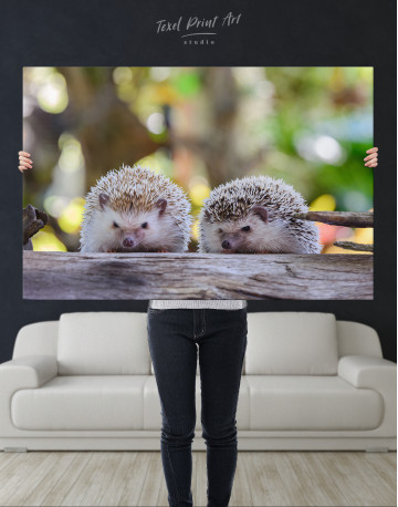 Couple of Two Hedgehogs on Tree Canvas Wall Art - image 9