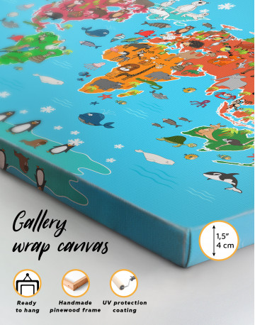 Blue Animals World Map for Kids Canvas Wall Art - image 9