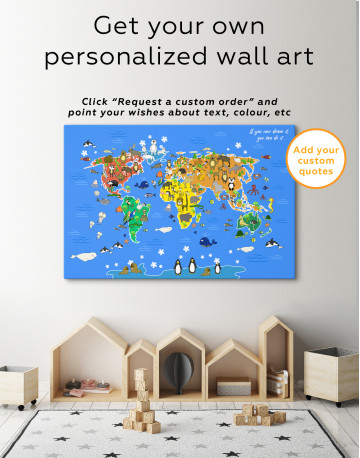 Blue Animals World Map for Kids Canvas Wall Art - image 7