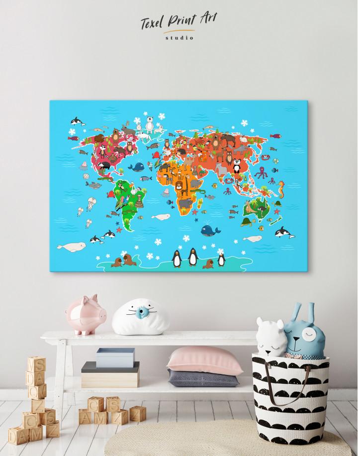 Blue Animals World Map for Kids Canvas Wall Art
