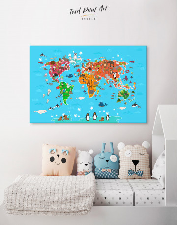 Blue Animals World Map for Kids Canvas Wall Art - image 6