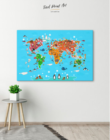 Blue Animals World Map for Kids Canvas Wall Art - image 1
