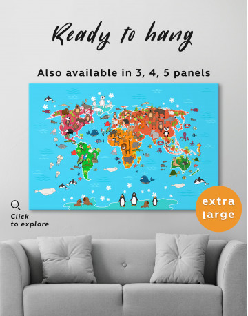 Blue Animals World Map for Kids Canvas Wall Art - image 8