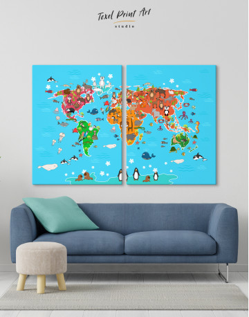 Blue Animals World Map for Kids Canvas Wall Art - image 2