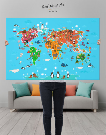 Blue Animals World Map for Kids Canvas Wall Art - image 4
