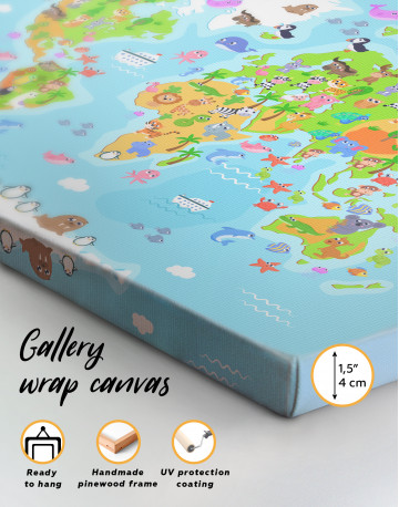 Children's World Map with Animals Canvas Wall Art - image 3