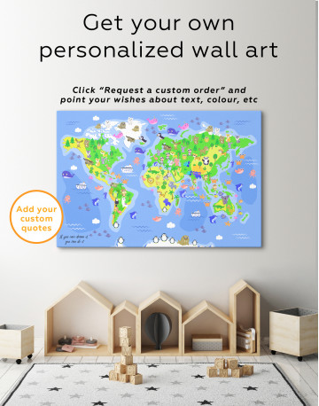 Children's World Map with Animals Canvas Wall Art - image 5