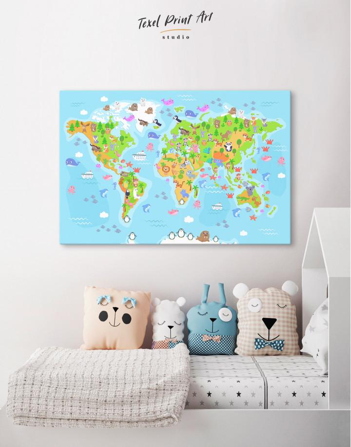 Children's World Map with Animals Canvas Wall Art