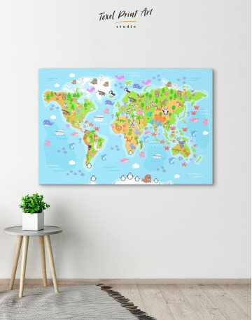 Children's World Map with Animals Canvas Wall Art - image 6