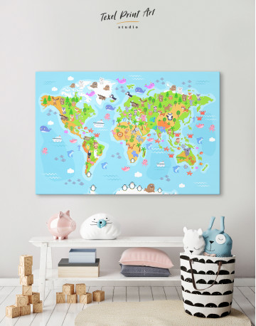 Children's World Map with Animals Canvas Wall Art - image 7