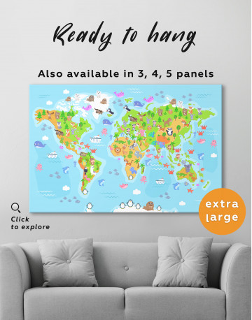 Children's World Map with Animals Canvas Wall Art - image 8