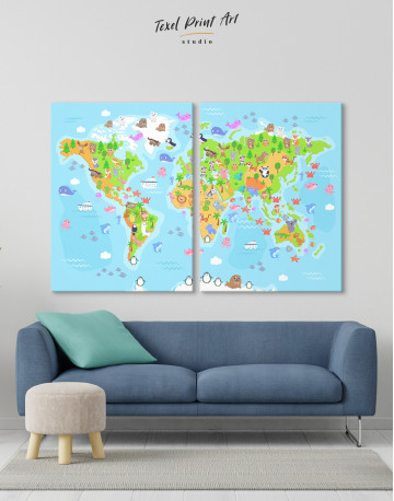 Children's World Map with Animals Canvas Wall Art - image 2