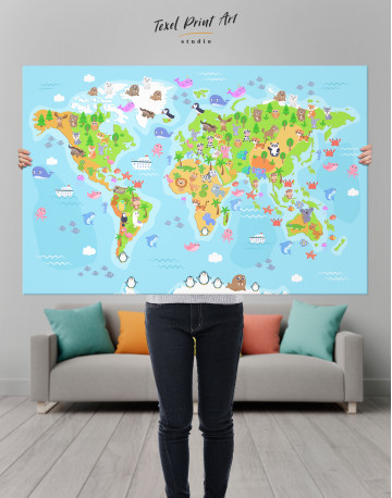 Children's World Map with Animals Canvas Wall Art - image 1