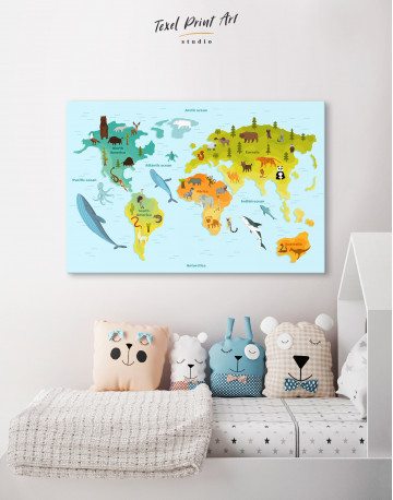World Map with Animals Canvas Wall Art