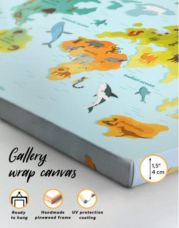 World Map with Animals Canvas Wall Art - image 2