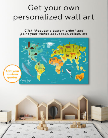 World Map with Animals Canvas Wall Art - image 3