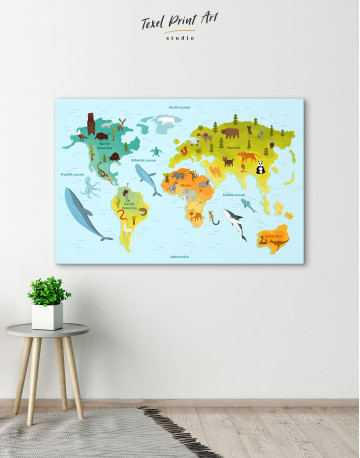 World Map with Animals Canvas Wall Art - image 4