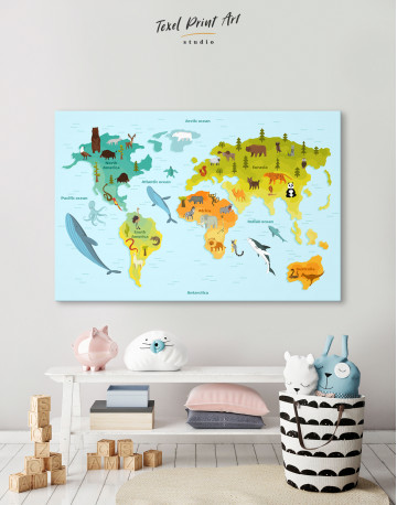 World Map with Animals Canvas Wall Art - image 6