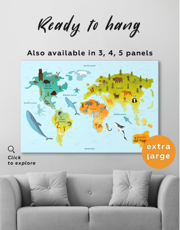 World Map with Animals Canvas Wall Art - image 7