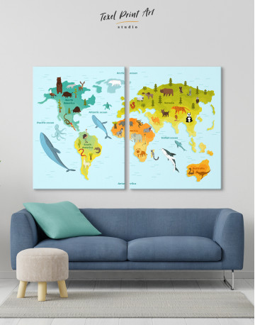 World Map with Animals Canvas Wall Art - image 10
