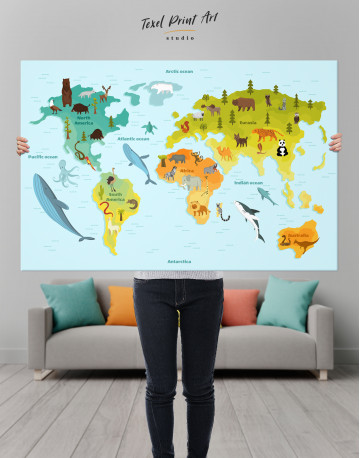 World Map with Animals Canvas Wall Art - image 1