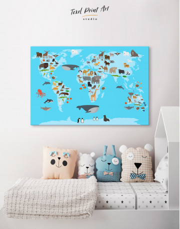 Blue World Map with Animals Canvas Wall Art