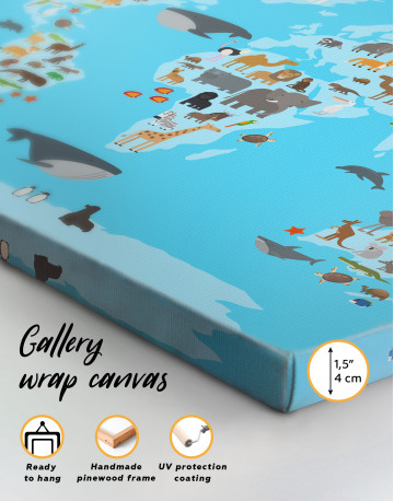Blue World Map with Animals Canvas Wall Art - image 7