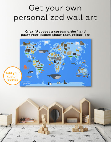 Blue World Map with Animals Canvas Wall Art - image 6