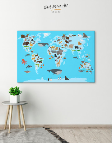 Blue World Map with Animals Canvas Wall Art - image 5