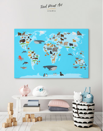 Blue World Map with Animals Canvas Wall Art - image 4
