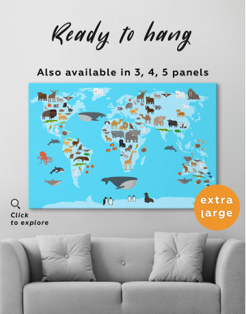 Blue World Map with Animals Canvas Wall Art - image 3