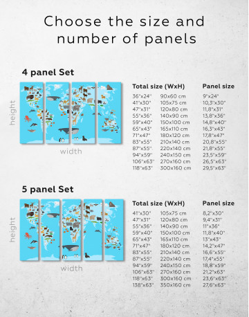 Blue World Map with Animals Canvas Wall Art - image 2