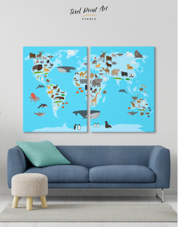 Blue World Map with Animals Canvas Wall Art - image 9