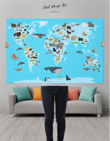 Blue World Map with Animals Canvas Wall Art - image 8