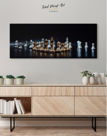 Panoramic Chess Game Canvas Wall Art