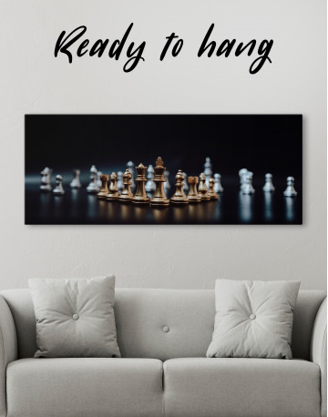 Panoramic Chess Game Canvas Wall Art - image 1