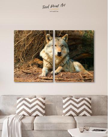Wild Gray Wolf Canvas Wall Art - image 1