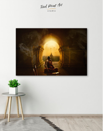 Praying Meditating Inside Buddhist Temple Canvas Wall Art - image 6