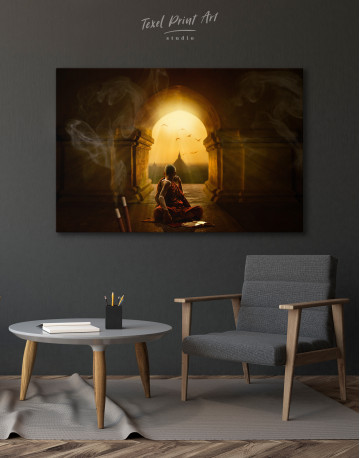 Praying Meditating Inside Buddhist Temple Canvas Wall Art - image 4