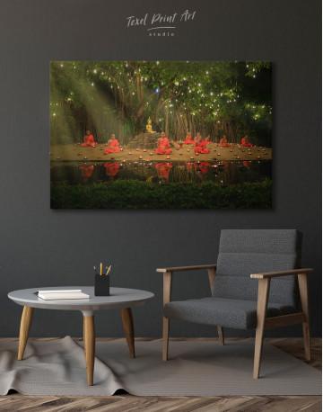 Buddhist Monks Meditating Canvas Wall Art - image 4