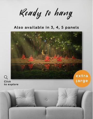 Buddhist Monks Meditating Canvas Wall Art - image 3