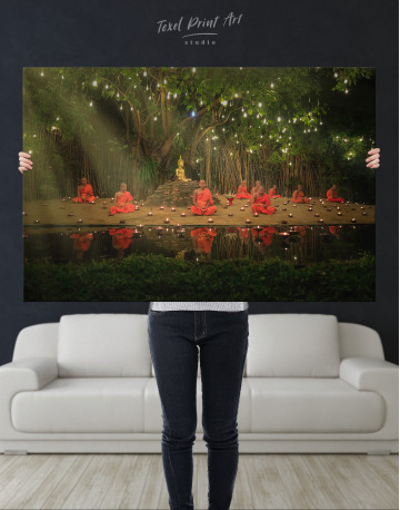 Buddhist Monks Meditating Canvas Wall Art - image 9