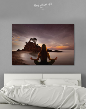 Yoga Girl Meditating Canvas Wall Art