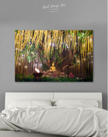 Buddha Statue with Candle Light Canvas Wall Art