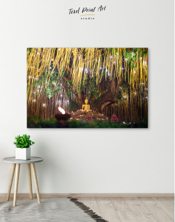 Buddha Statue with Candle Light Canvas Wall Art - image 4